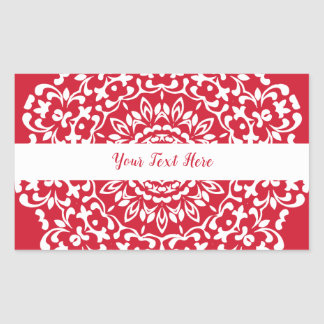Red White Elegant Classy Lace Personalized Sticker