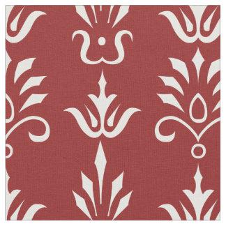 Red white elegant damask pattern fabric