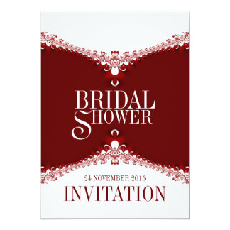 Red White Elegant Lace Bridal Shower Invitations