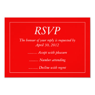 Red & White Event Reply, RSVP or Response Cards