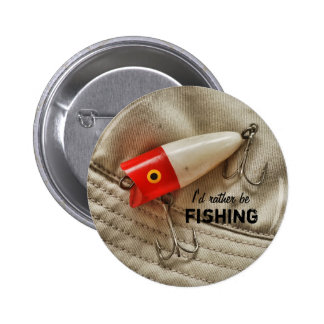 Red & White Fishing Lure I'd Rather Be Fishing 2 Inch Round Button