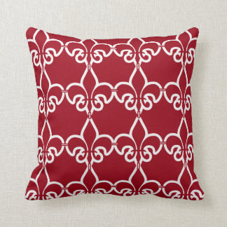 Red White Fleur de Lis Chain Pattern Throw Pillow
