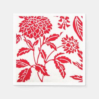 Red & White Floral Print Napkins Disposable Napkin