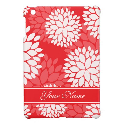 Red White Flowers Monogram Cover For The iPad Mini
