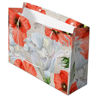 Red & White  Flowers With Wood Background Large Gift Bag
