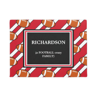 Red White Football  Pattern Doormat