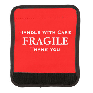 Red White Fragile Handle with Care Thank You Luggage Handle Wrap