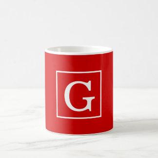 Red White Framed Initial Monogram Classic White Coffee Mug
