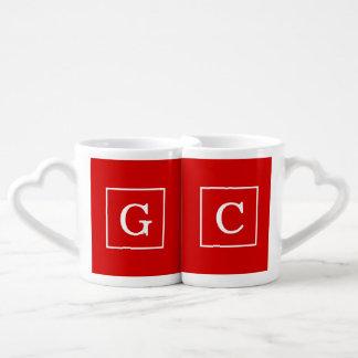 Red White Framed Initial Monogram Lovers Mug