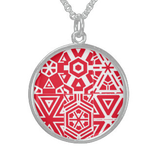 Red & White Geometric 4Mariana Sterling Silver Necklace