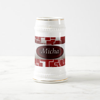 Red & White Geometric Quilted Look Monogram 18 Oz Beer Stein