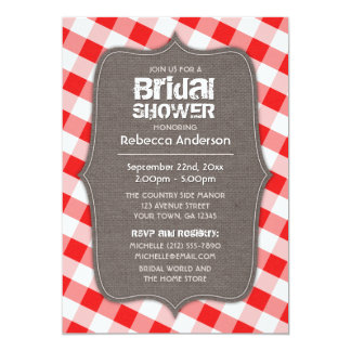 Red & White Gingham Canvas Bridal Shower Card