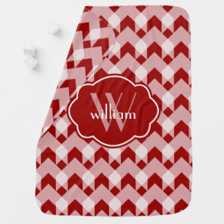 Red White gingham  chevron, w Monogram Baby Blanket