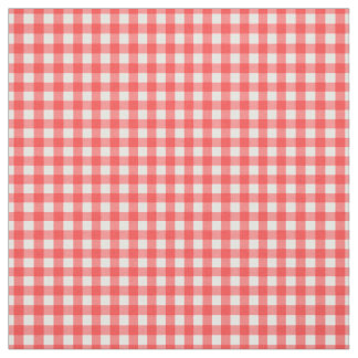 Red White Gingham Classic Check Pattern Fabric
