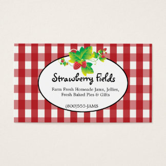 Red & White Gingham Country Business Card - 2 Side