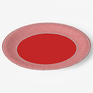 Red-White Gingham-PAPER PARTY PLATES-2 9 Inch Paper Plate