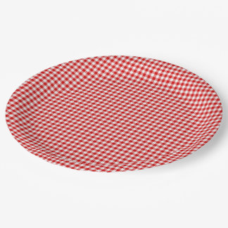 Red-White Gingham-PAPER PARTY PLATES 9 Inch Paper Plate
