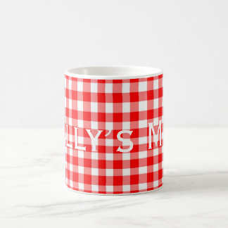 Red/White Gingham Pattern Personnalised Coffee Mug