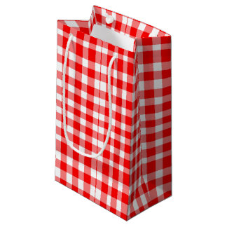Red/White Gingham Pattern Small Gift Bag