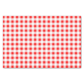 Red White Gingham Pattern Tissue Paper
