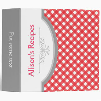 Red, white gingham pattern with frame recipe binder