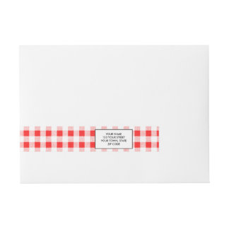 Red White Gingham Pattern Wraparound Address Label