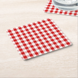 Red & White Gingham Plaid Checks Rustic Wedding Square Paper Coaster
