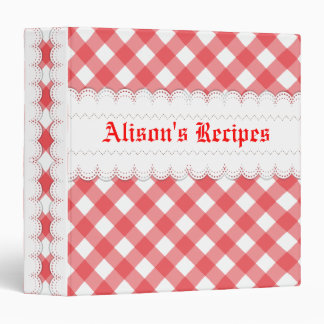Red, white gingham with scalloped borders recipe binder