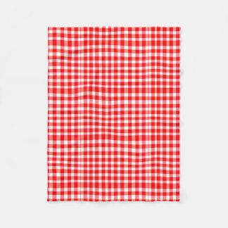 Red/White GinghamPattern Fleece Blanket