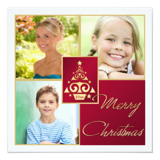 "Red, White, Gold Christmas Tree Christmas Card 5.25"" Square Invitation Card"