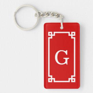 Red White Greek Key Frame #2 Initial Monogram Double-Sided Rectangular Acrylic Keychain