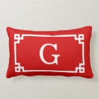Red White Greek Key Frame #2 Initial Monogram Lumbar Pillow