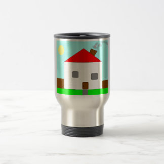 Red White Green Blue House Drawing, Art By Kids :) Travel Mug