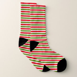Red white green Christmas colour stripe pattern 1