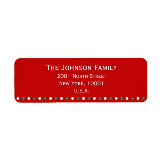 Red White Green Christmas Return Address Labels