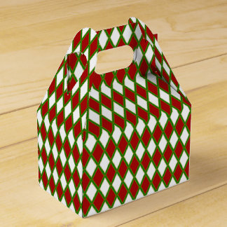 Red White & Green Harlequin Holiday Favor Box