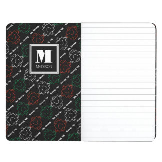 Red, White & Green Pattern | Add Your Name Journal