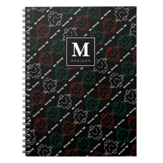 Red, White & Green Pattern | Add Your Name Notebooks