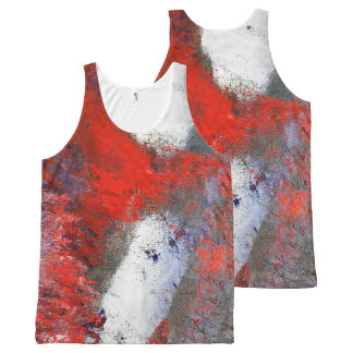 Red White Grey Abstract Tank Top