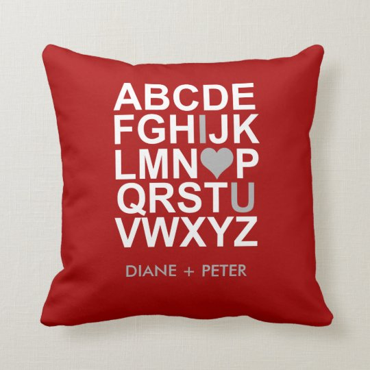 Red White Grey Heart Love Pillow
