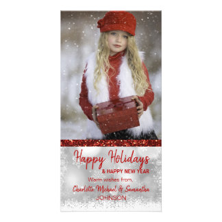 RED White Happy Holidays / New Year   PHOTO Card