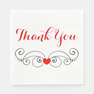 Red  & White Heart Thank You Wedding Disposable Napkin