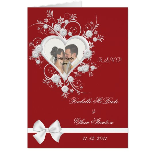 Red & White Heart Wedding Photo RSVP Note Cards
