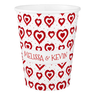 Red & White Hearts Pattern Paper Cup