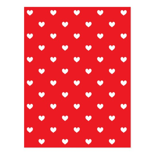 Red & White Hearts Pattern Postcard