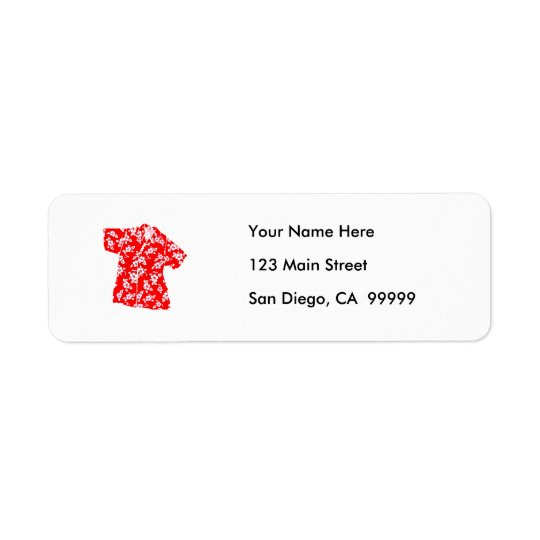 Red & White Hibiscus Aloha Shirt Return Address Label