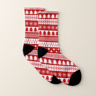 Red & White Holiday Socks 1