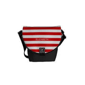 Red White Horizontal Preppy Stripe Name Monogram Courier Bags