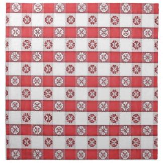 Red White Italian Tablecloth Print Napkin