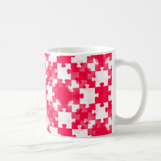 RED white jigsaw puzzle backgrounds wallpapers tem Coffee Mug